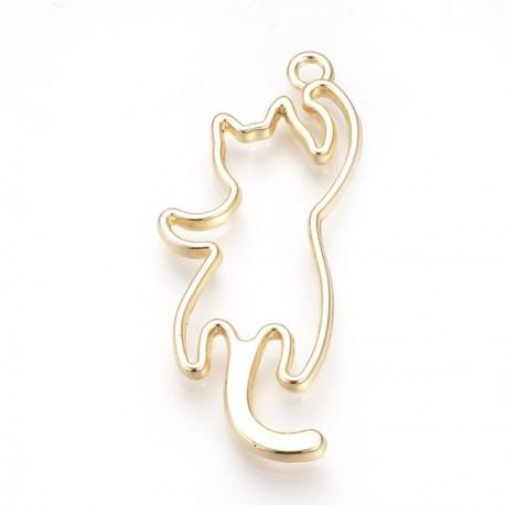 Pendentif contour Chat  grimpant 19 x 47 mm, doré