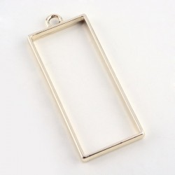 Pendentif contour Rectangle long 20 x 49 mm, doré