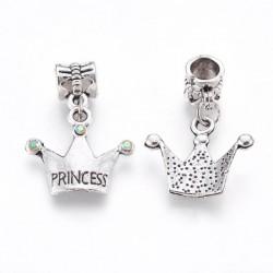 Charm Couronne Princesse strass blanc avec reflets style Pandora - à l'unité