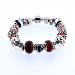 Bracelet style pandora Noir/Rouge