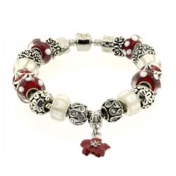 Bracelet style pandora Blanc/Rouge