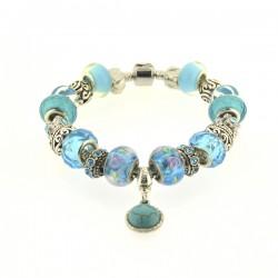 Bracelet style pandora Turquoise fleuri