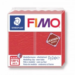 Fimo Effet cuir (Effect Leather) Rouge 249 - 57 gr