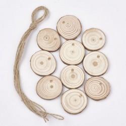 10 Pendants bois Ronds avec ficelle