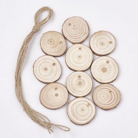 10 Pendant bois Ronds avec ficelle