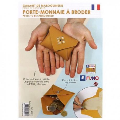 Gabarit de maroquinerie Effet Cuir porte-monnaie à broder 10 x 7 cm