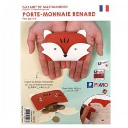 Gabarit de maroquinerie Effet Cuir porte-monnaie Renard 12,5 x 8 cm