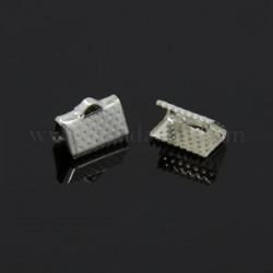 Embout métal pince à griffe 10 x 7 mm argenté clair - la paire