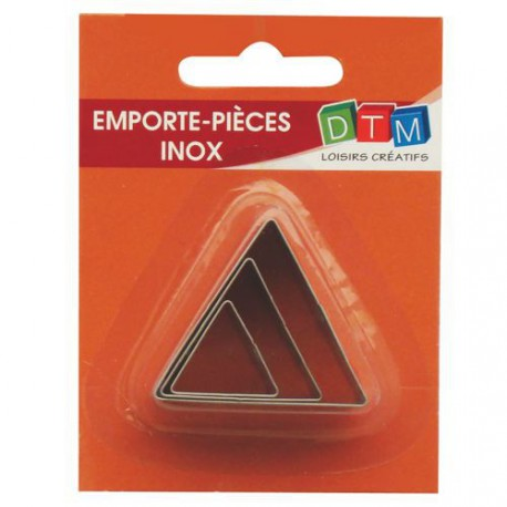 3 emporte-pièces Triangles métalliques pour fimo