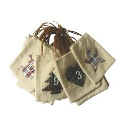 24 sacs de l'Avent beiges en lin