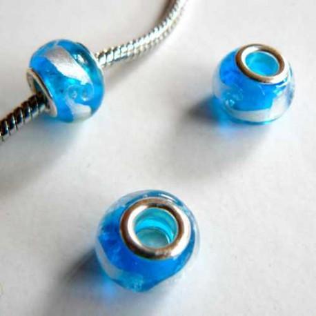 Perle de verre bleu/argent style Pandora - à l'unité