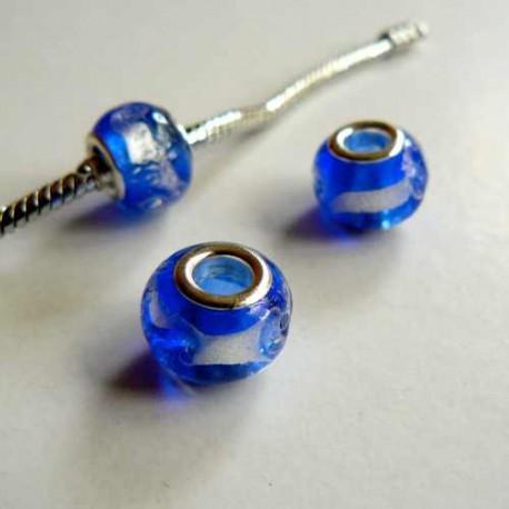 Perle de verre bleu foncé/argent style Pandora - à l'unité
