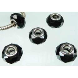 Perle à facettes Noire style Pandora - à l'unité