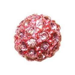 Perle metal strass shamballa 10mm rose