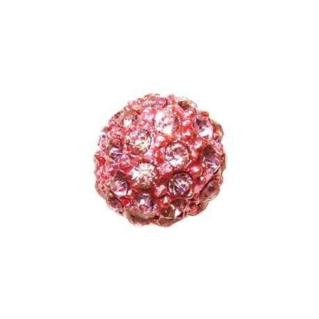 Perle metal strass shamballa 10mm rose