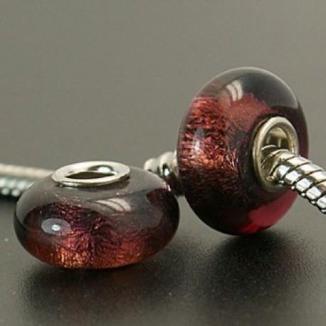 Perle de verre lilas rose irisé style Pandora - à l'unité