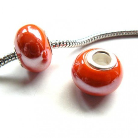 Perle porcelaine vernie Orange style Pandora - à l'unité