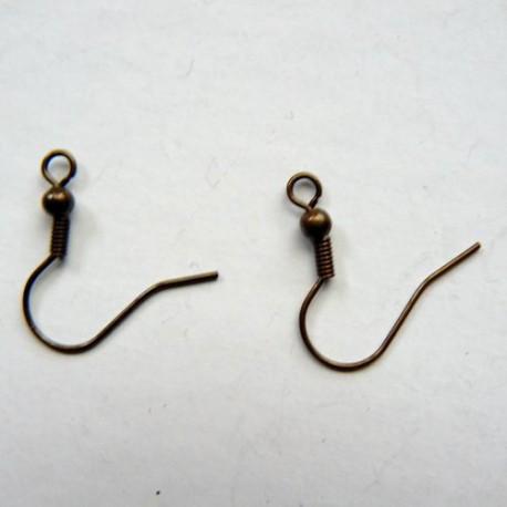 Crochets d'oreille, 19 mm, bronze antique, sans nickel - la paire