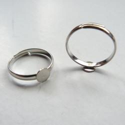 Support de bague, réglable, plateau 6 mm, argenté clair