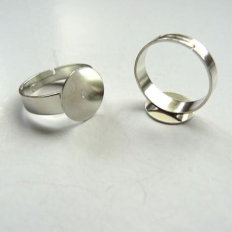 Support de bague, réglable, plateau 12 mm, argentée sans nickel