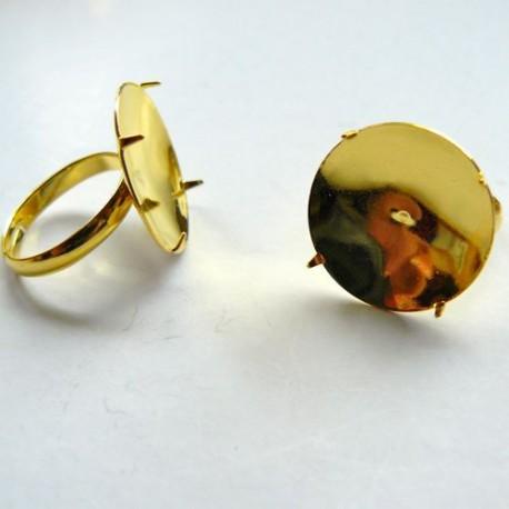 Support de bague, à picots, plateau 20 mm, dorée