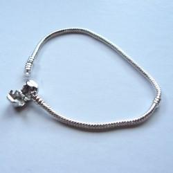 Bracelet style Pandora Fermoir clip 21 cm argenté clair