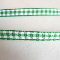 Ruban vichy vert, 7 mm, au mètre