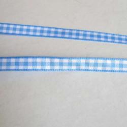 Ruban vichy bleu clair, 7 mm, au mètre