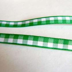 Ruban vichy vert foncé/clair, 7 mm, au mètre