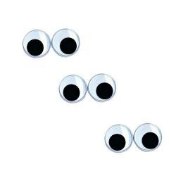 Yeux mobiles ronds en plastique, noir/blanc