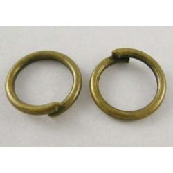 Anneau brisé rond, 5 mm diamètre, bronze antique x10