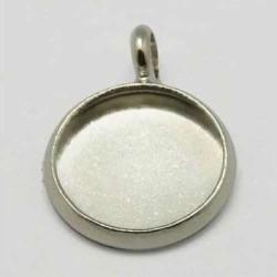 Pendentif support à cabochon 10 mm intérieur, argenté clair