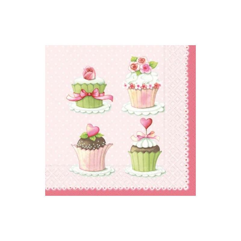 Serviettes en papier lovely cupcakes - Sapin en serviette en papier ...