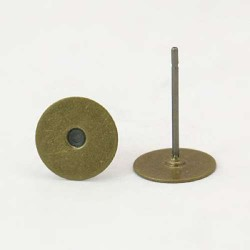 Clous d'oreille, 10 x 8 mm, bronze antique - la paire