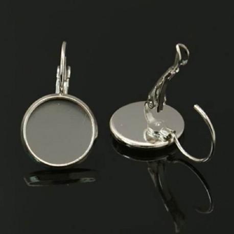 Dormeuses, plateau 12 mm, argenté nickel - la paire