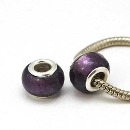 Perle de verre feuille d'argent violette style Pandora - à l'unité