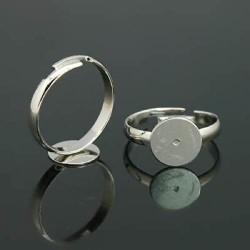 Bague ronde réglable, plateau 8 mm, argenté sans nickel
