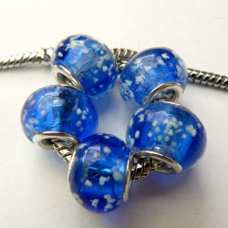 Perle de verre bleue neigeuse style Pandora - à l'unité