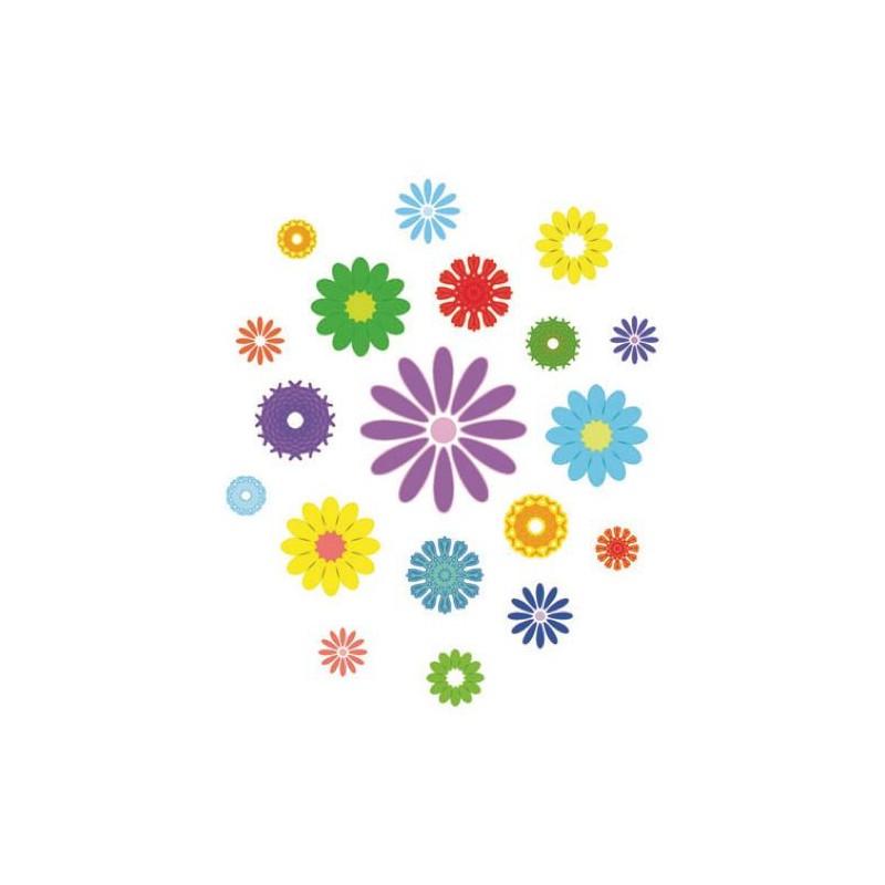 transfert textile thermocollant fleurs multicolores. Black Bedroom Furniture Sets. Home Design Ideas