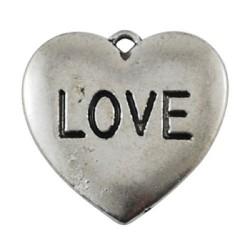 Pendentif breloque en métal Coeur Love