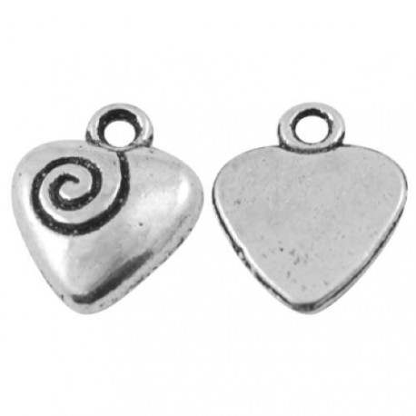 Pendentif breloque en métal Coeur gravé
