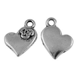 Pendentif breloque en métal Coeur à la fleur