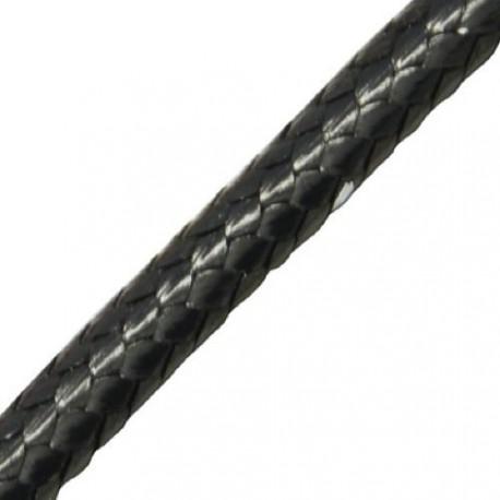 Cordon en coton ciré, noir 2 mm ø