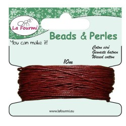 Carte 10 m Cordon bordeaux en coton ciré, 1 mm ø