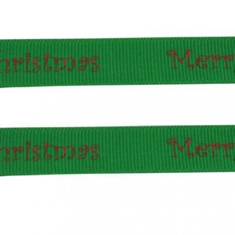 Ruban gros grain Merry Christmas sur fond vert, 10 mm, au mètre