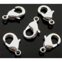 Fermoir de métal, ovale, argenté clair 12 mm