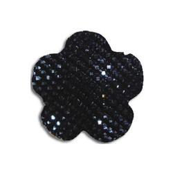 Cabochon fleur 20 mm noire shine