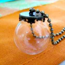 Globe bulle 20 mm avec pendentif bronze antique