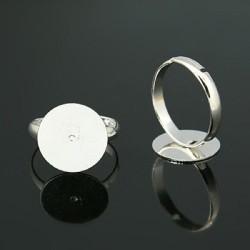 Bague ronde réglable, plateau 14 mm, argenté clair