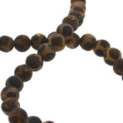 """Perle naturelle Agate """"ethnique"""" marron avec taches, ronde 10 mm - à l'unité"""